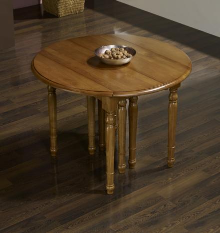 Table ronde volets diametre 105 en ch ne massif de style for Table ronde chene massif avec allonges