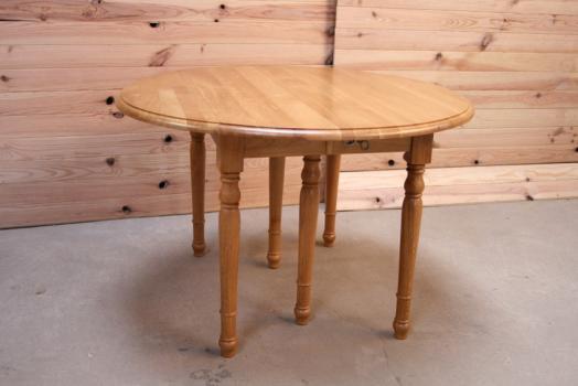 Table ronde volets alain en ch ne massif de style louis - Diametre table ronde 4 personnes ...