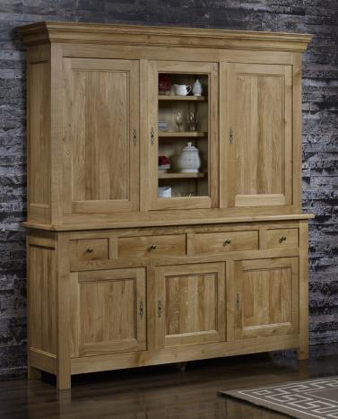 bahut 2 corps 6 portes 4 tiroirs en ch ne massif de style campagnard meuble en ch ne. Black Bedroom Furniture Sets. Home Design Ideas