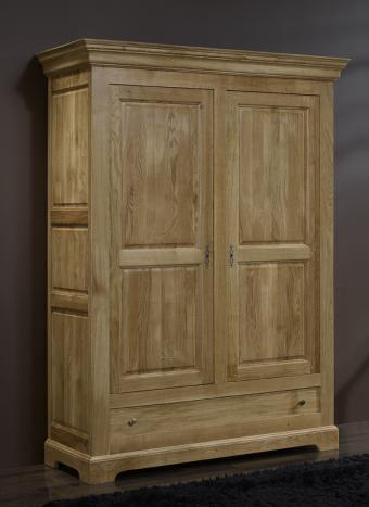 armoire 2 portes en ch ne massif de style louis philippe campagnard meuble en ch ne. Black Bedroom Furniture Sets. Home Design Ideas