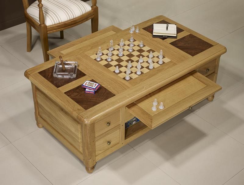table basse jeu d 39 chec en ch ne et noyer de style louis philippe meuble en ch ne. Black Bedroom Furniture Sets. Home Design Ideas