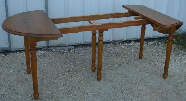 Table ronde volets diametre 105 4 allonges en ch ne - Diametre table ronde 4 personnes ...