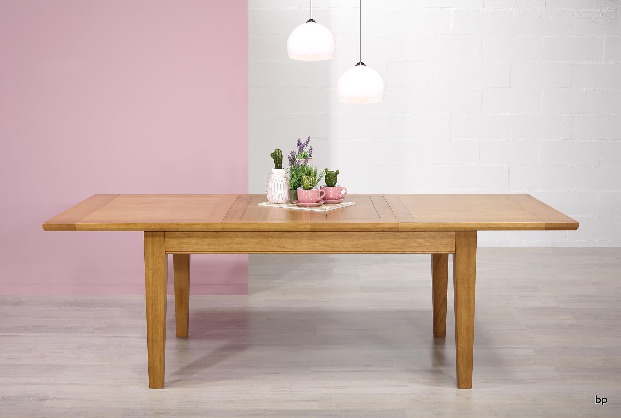 Table rectangulaire en ch ne massif 160 100 2 allonges for Table en chene rectangulaire