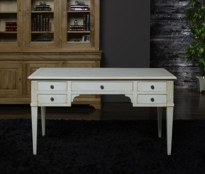 bureau ministre 5 tiroirs xavier en ch ne massif de style directoire patin ivoire us meuble. Black Bedroom Furniture Sets. Home Design Ideas