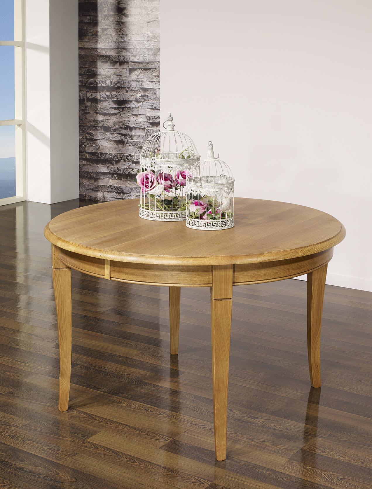 Table ronde en ch ne massif de style louis philippe for Table ronde 100 cm avec rallonge