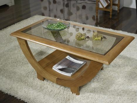 Superbe table basse en ch ne massif plateau verre meuble en ch ne - Table basse chene et verre ...