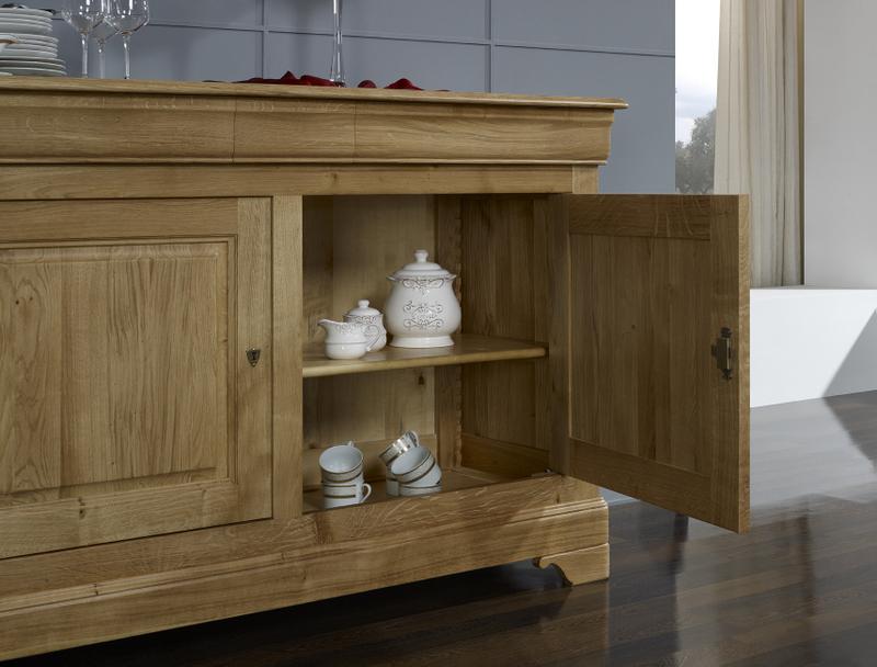 buffet bas 2 portes en ch ne massif de style louis philippe largeur 160 cm meuble en ch ne. Black Bedroom Furniture Sets. Home Design Ideas