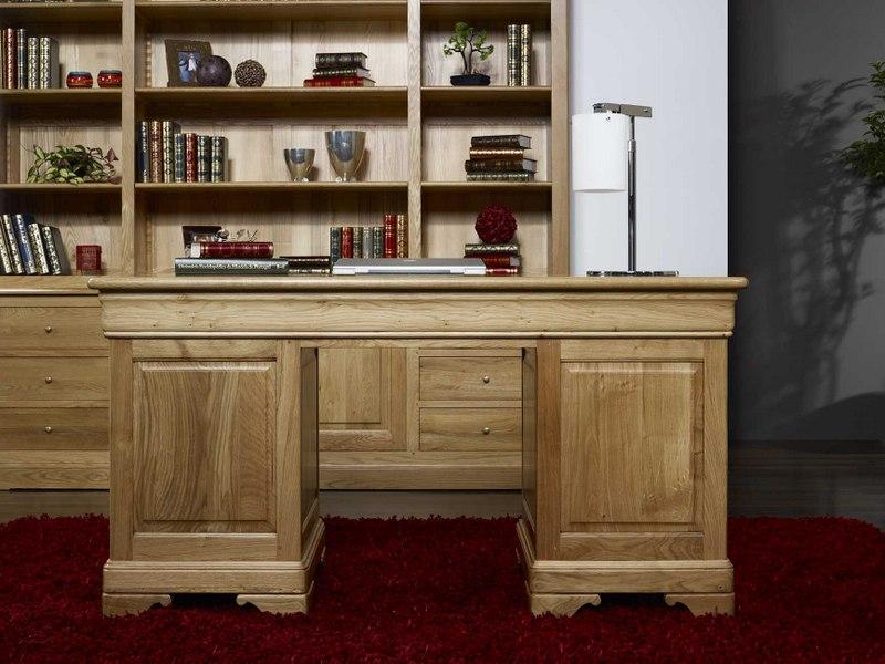 Bureau ministre 9 tiroirs en ch ne massif de style louis - Bureau chene blanchi ...