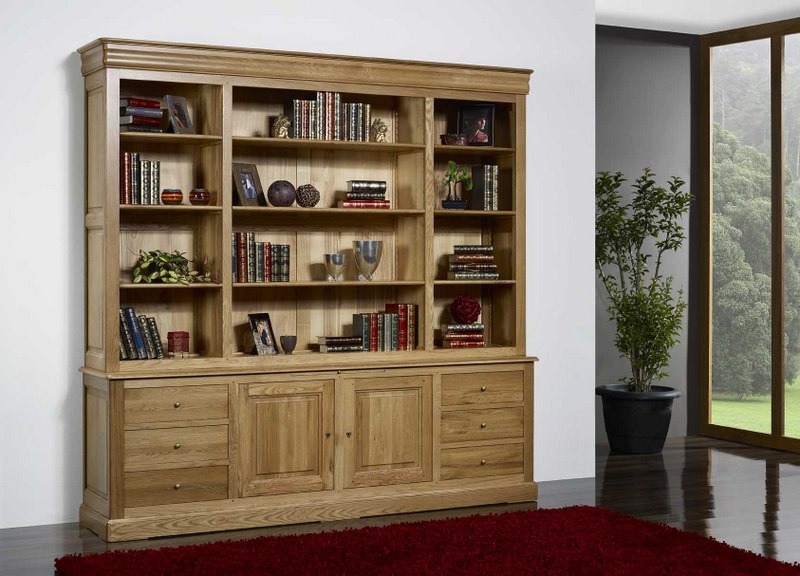 biblioth que 2 corps en ch ne massif de style louis philippe longueur 240 cm meuble en ch ne. Black Bedroom Furniture Sets. Home Design Ideas