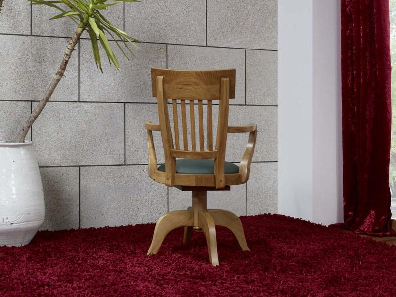 Fauteuil de bureau en ch ne massif de style louis philippe for Fauteuil de bureau en bois pivotant