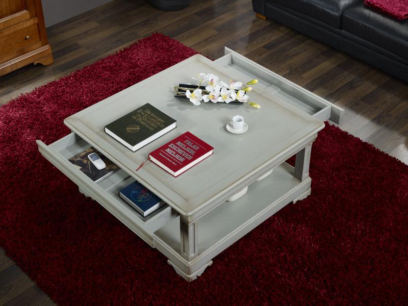 Table basse carr e clarisse en ch ne de style louis - Table basse carree grise ...