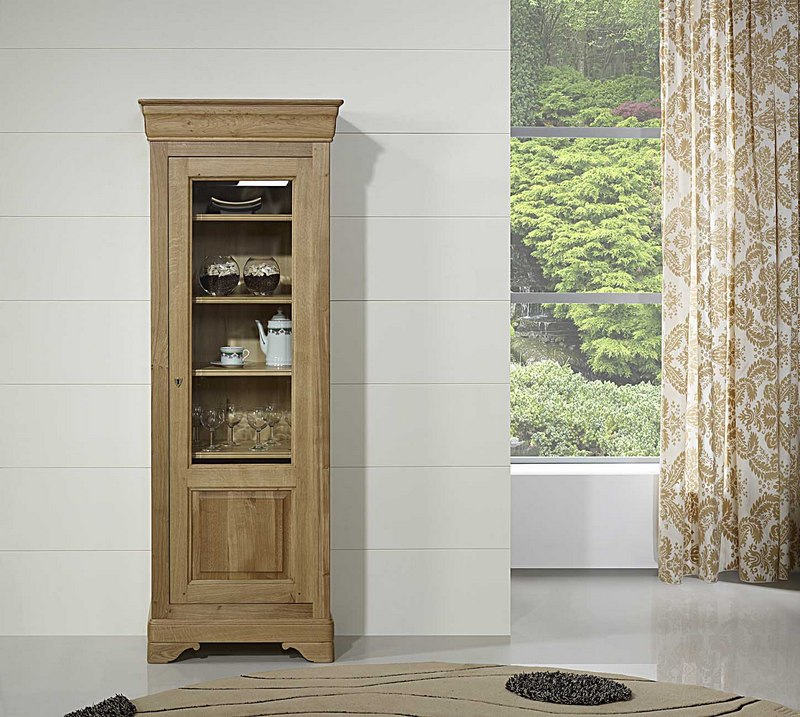 vitrine 1 porte en ch ne massif de style louis philippe. Black Bedroom Furniture Sets. Home Design Ideas