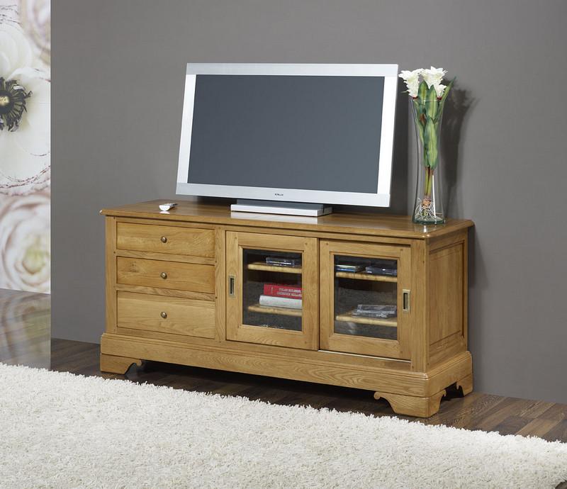 Meuble Tv Bois Portes Coulissantes : Meuble Tv 169ème Laurent Réalisé En Chêne Massif De Style Louis