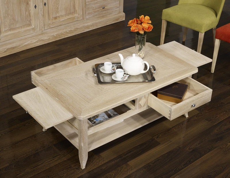 table basse en ch ne de style louis philippe plateau marquete finition bross blanchi meuble. Black Bedroom Furniture Sets. Home Design Ideas