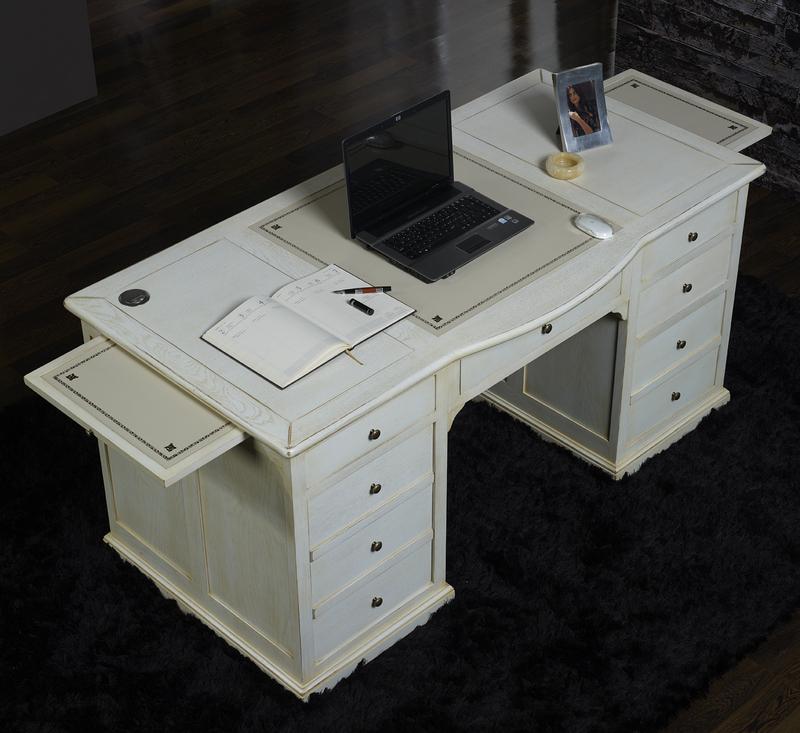 bureau ministre en ch ne de style louis philippe special informatique patine chene blanchi. Black Bedroom Furniture Sets. Home Design Ideas