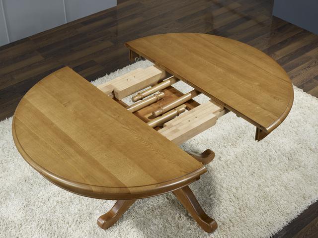 Table ronde pieds central en ch ne de style louis philippe - Table ronde pied central avec rallonge ...