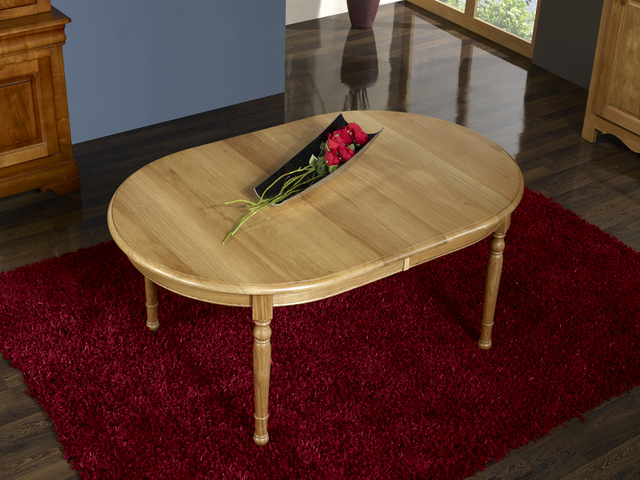 table ovale 170x110 claire en ch ne massif de style louis philippe 4 pieds tourn s finition. Black Bedroom Furniture Sets. Home Design Ideas