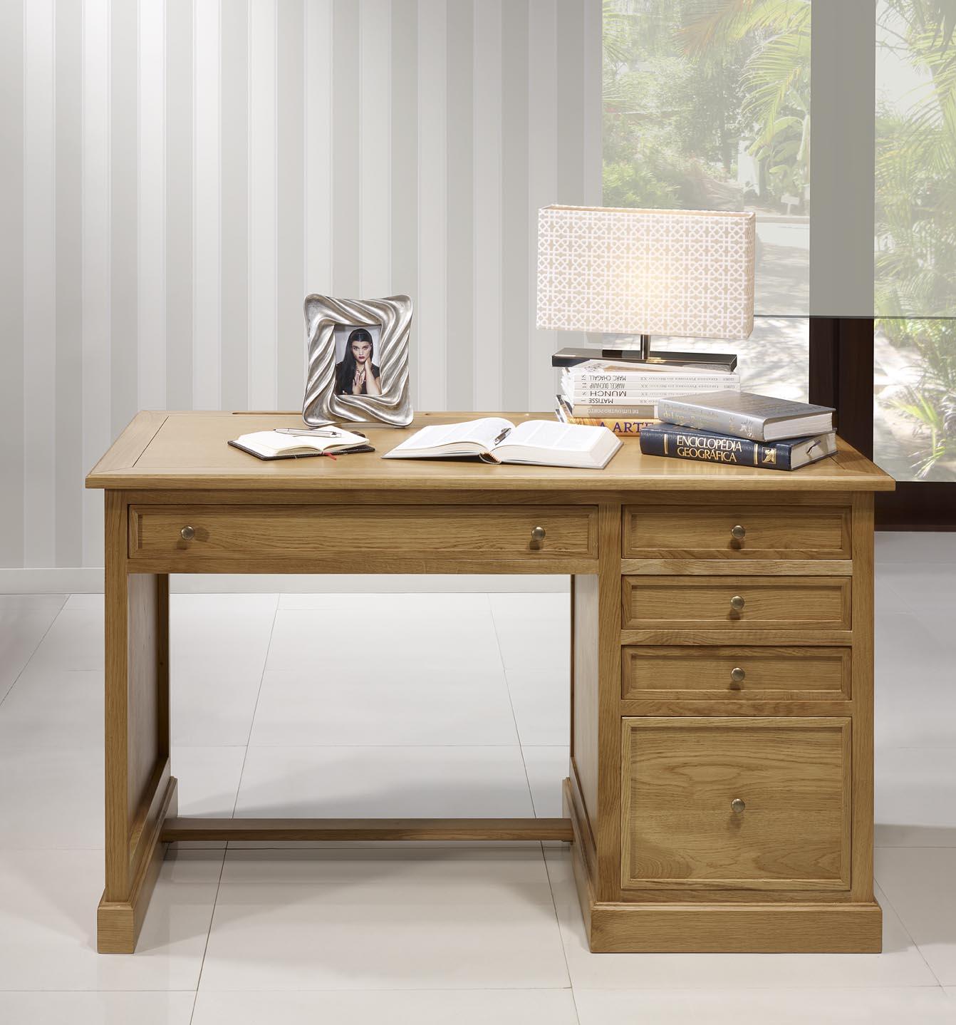 Bureau 5 tiroirs en ch ne de style louis philippe meuble for Bureau 5 tiroirs