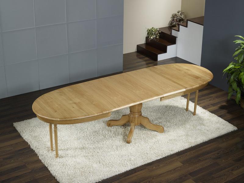 table ovale pied central en ch ne massif de style louis. Black Bedroom Furniture Sets. Home Design Ideas