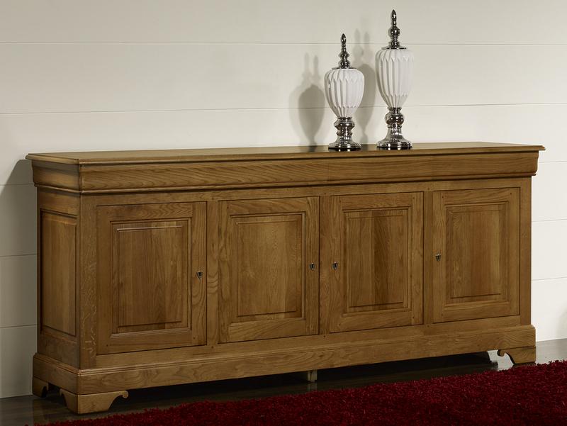 buffet 4 portes baptiste en ch ne massif de style louis. Black Bedroom Furniture Sets. Home Design Ideas