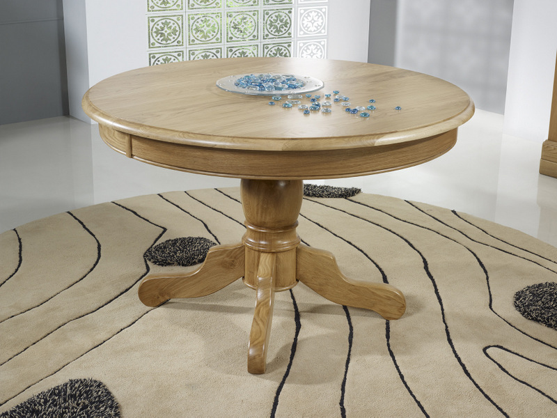 Table ronde pied central en ch ne massif de style louis - Diametre table ronde 4 personnes ...