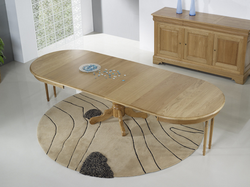 Table ronde pied central en ch ne massif de style louis for Table ronde avec rallonges