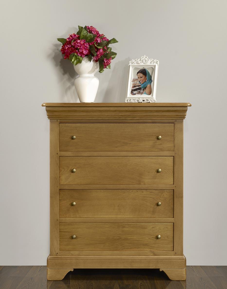 commode 4 tiroirs nathan en ch ne de style louis philippe meuble en ch ne. Black Bedroom Furniture Sets. Home Design Ideas