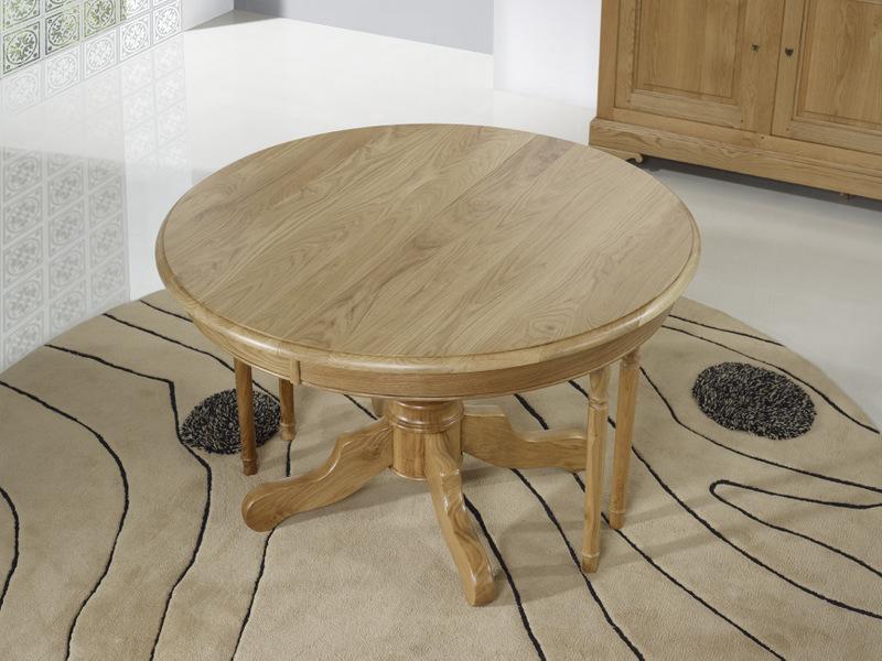 Table ronde pied central en ch ne massif de style louis philippe diametre 120 2 allonges de 40 - Table ronde avec pied central ikea ...