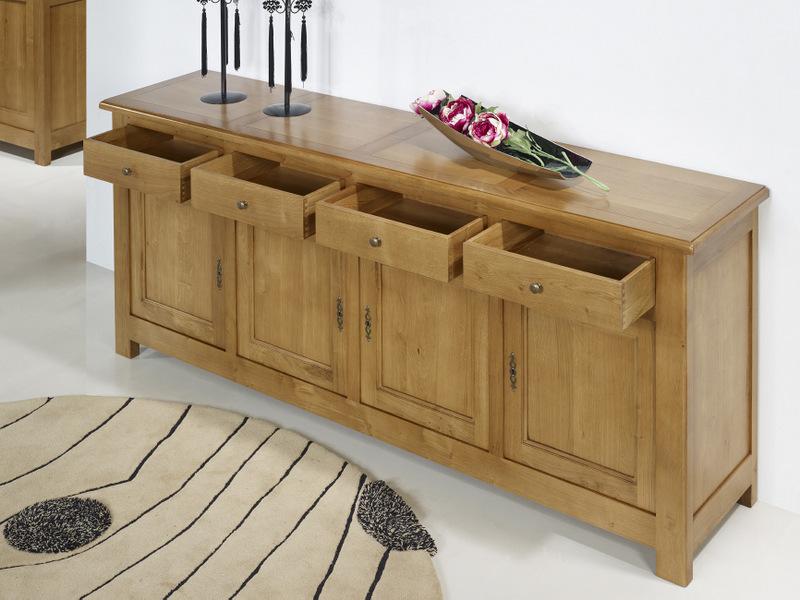 Buffet 4 portes en ch ne massif de style campagnard for Assemblage de meuble en bois
