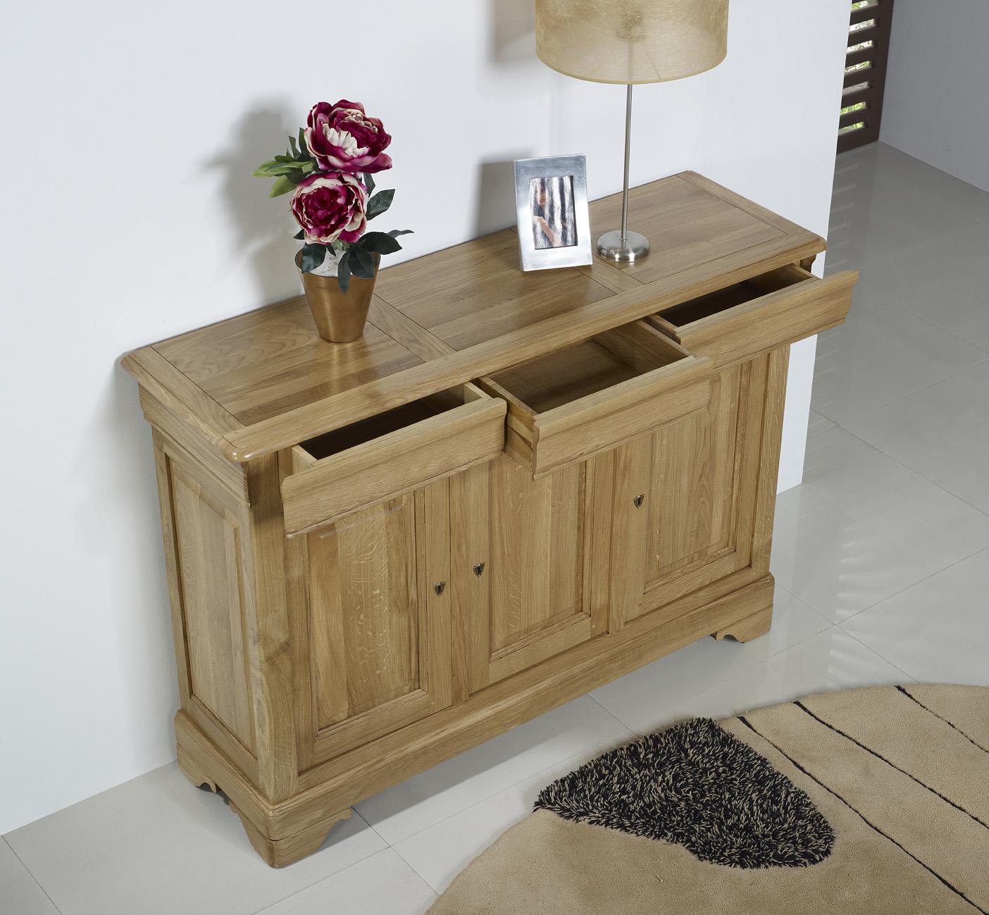 petit buffet 3 portes alix en ch ne massif de style louis philippe meuble en ch ne. Black Bedroom Furniture Sets. Home Design Ideas