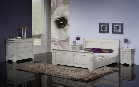 lit bateau 160x200 en ch ne massif de style louis philippe campagnard finition ch ne bross gris. Black Bedroom Furniture Sets. Home Design Ideas