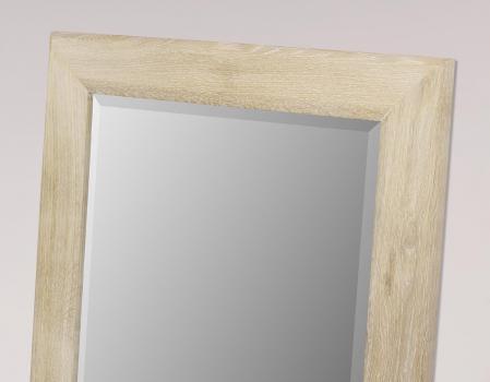 Miroir glace biseaut e 120x60 en ch ne massif meuble en for Miroir 120x60