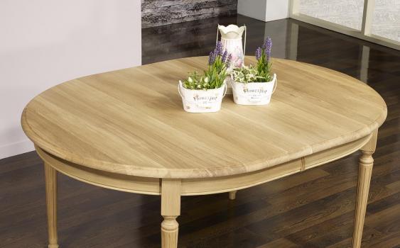 table ovale 160x120 lambert en ch ne massif de style louis. Black Bedroom Furniture Sets. Home Design Ideas