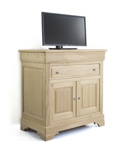meuble tv en ch ne massif de style louis philippe plateau pivotant finition ch ne bross. Black Bedroom Furniture Sets. Home Design Ideas