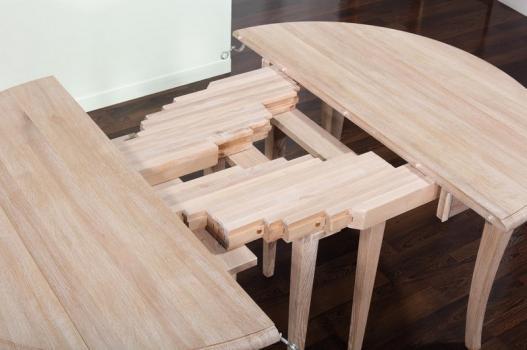 Table ronde volets diametre 110 en ch ne massif de style - Diametre table ronde pour 10 personnes ...