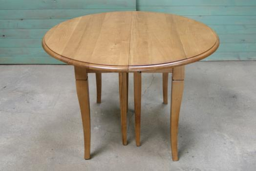 Table ronde à volets DIAMETRE 110 en chêne massif de style Louis Philippe 7 allonges de 40 cm