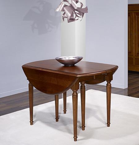 table ronde volets en ch ne massif de style louis xvi diam tre 120 3 allonges de 40 cm. Black Bedroom Furniture Sets. Home Design Ideas
