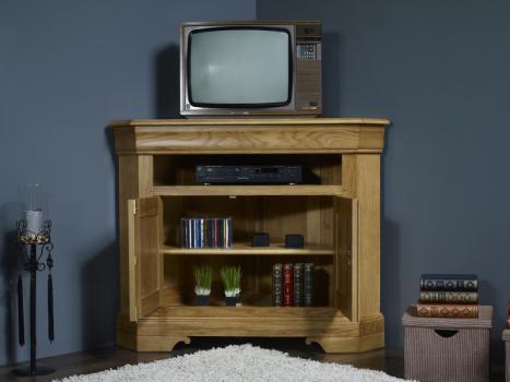 Meuble tv d 39 angle arnaud en ch ne massif de style louis philippe meuble en ch ne - Meuble tv style louis philippe ...