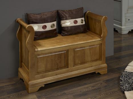 banc coffre en ch ne massif de style louis philippe finition ch ne bross meuble en ch ne. Black Bedroom Furniture Sets. Home Design Ideas
