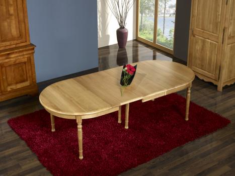 table ovale 170x110 claire en ch ne massif de style louis philippe 4 pieds tourn s meuble en ch ne. Black Bedroom Furniture Sets. Home Design Ideas